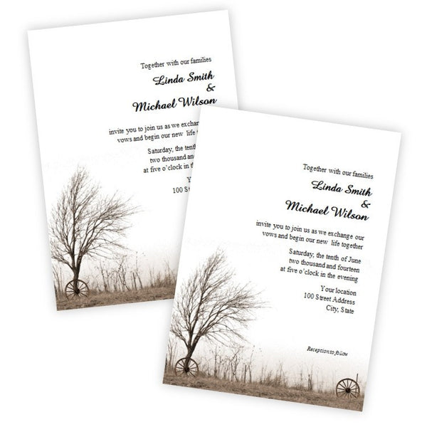 Country Wagon Wheels Wedding Invitation Template