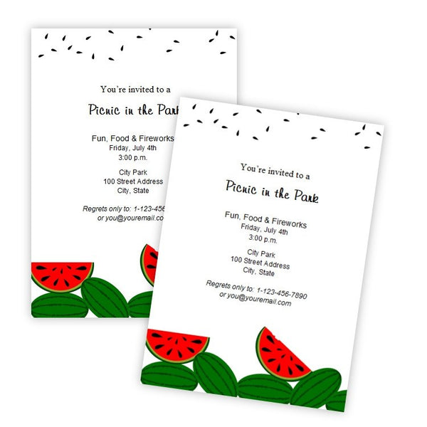 Watermelon Picnic or Birthday Invitation Template