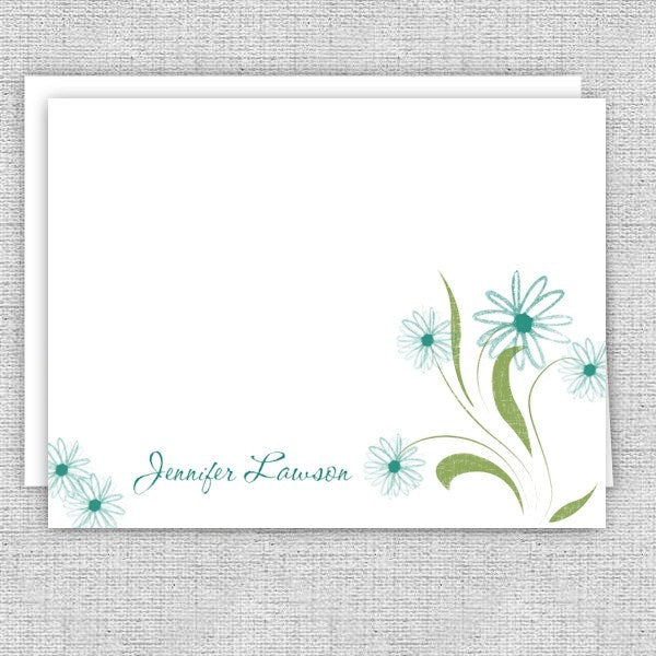 Whimsical Teal Flowers Personalized Note Cards