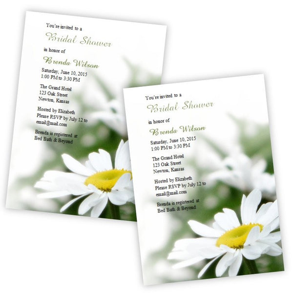 White Daisy Bridal Shower Invitation