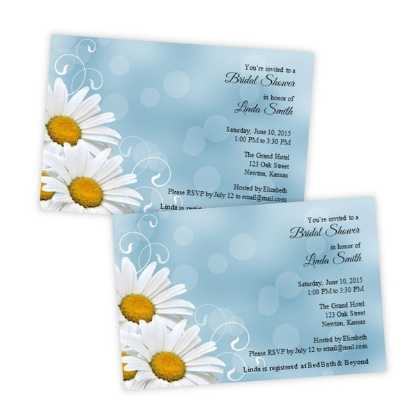 White Daisies Bridal Shower Postcard Invitation