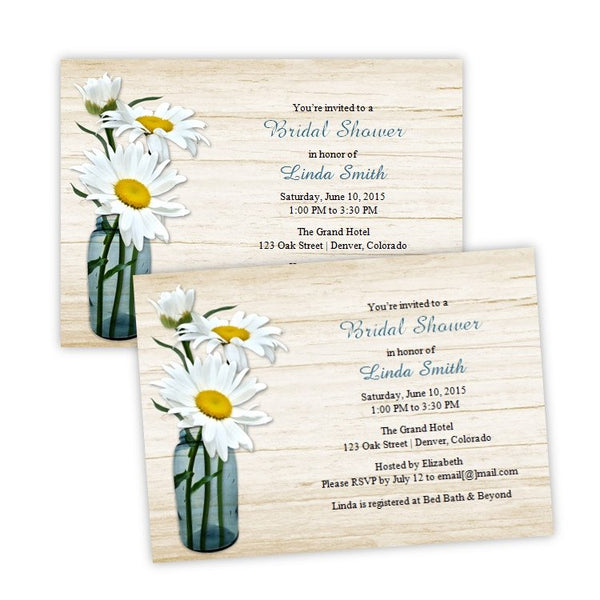 White Daisies in a Mason Jar Bridal Shower Invitation