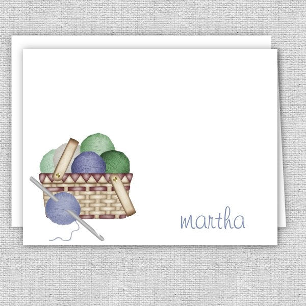 Yarn Basket Personalized Note Cards