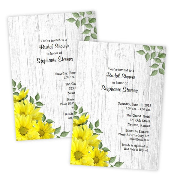Yellow Daisies Bridal Shower Template