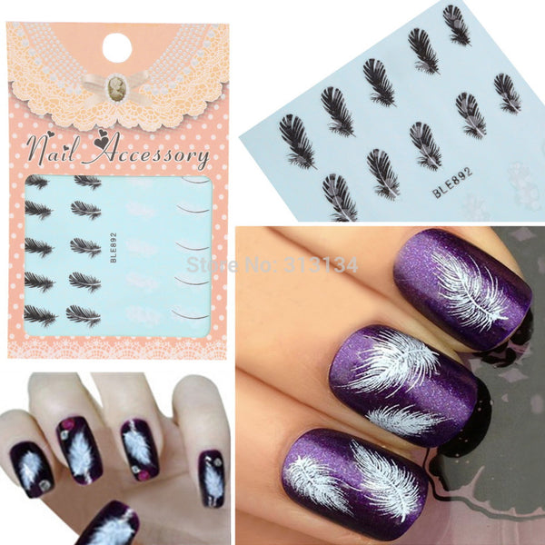 20pcs/sheet Black & White Feather Nail Art Decals Water Transfer Nail Art Stickers Tips Feather Decals Nail Art Wrap Decoration