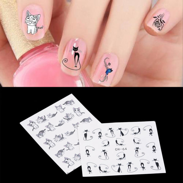 6 Sheet Nail Art Plant Animal Pattern Cute Cat Butterfly Flower Water Transfers Sticker Decals DIY Decoration Accessories Hot!~~