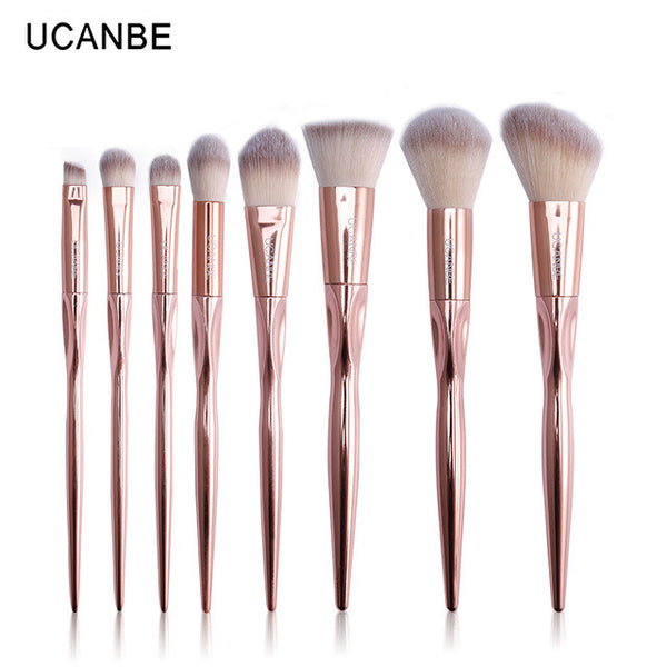 8 Pcs Brushes Set  Rose Gold