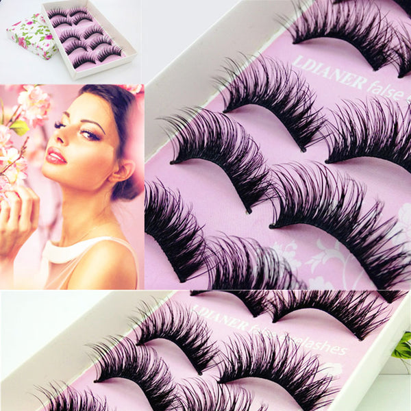 LEARNEVER 5 Pairs Makeup Handmade Messy Natural Cross False Eyelashes Perfect Eye Lashes M01529