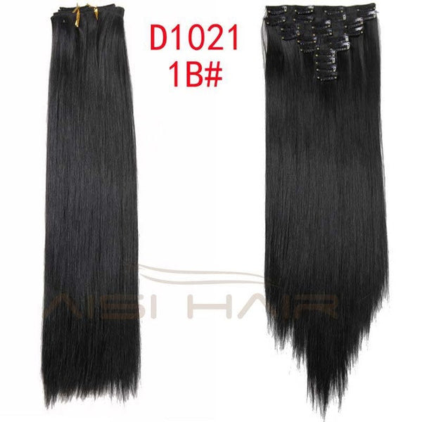 "Synthetic Hair Extension 22 Clips Long Stragiht 10pcs/set 24"" 160g Hairpiece"