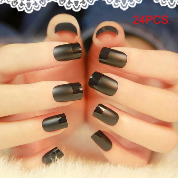 New 24pcs Fake Nails Acrylic Faux Ongles Decoration for Lady Makeup Full Nails Tips Art DIY Beauty Manicure HB88