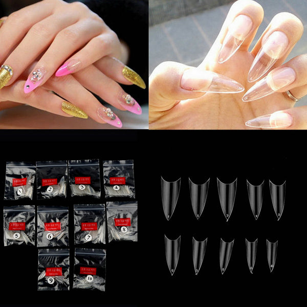 Free Shipping 500pcs Sharp Ending Stiletto Acrylic False Nail Tips Beige Art Beauty New