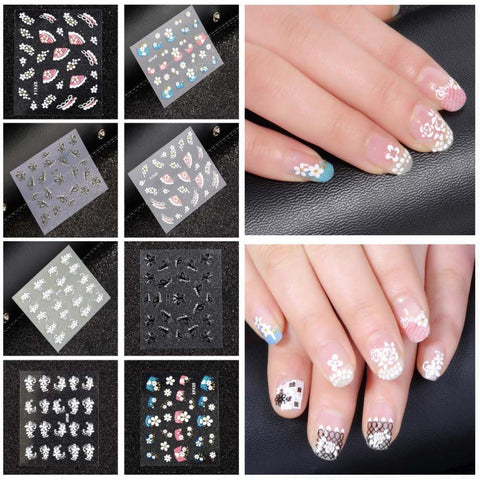 2015 Top Sell Flower Bows Water Transfer Sticker Nail Art Decals Nails Wraps Temporary Tattoos Watermark Nail Tools