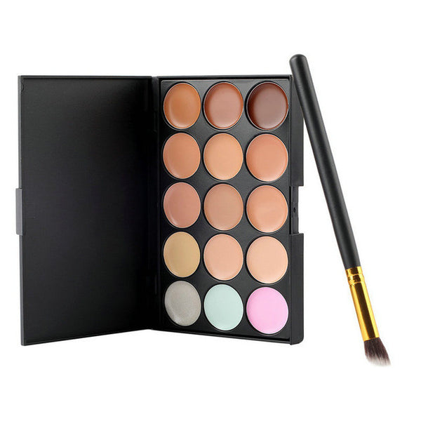15 Colours Palette - Concealer Cream With Brush