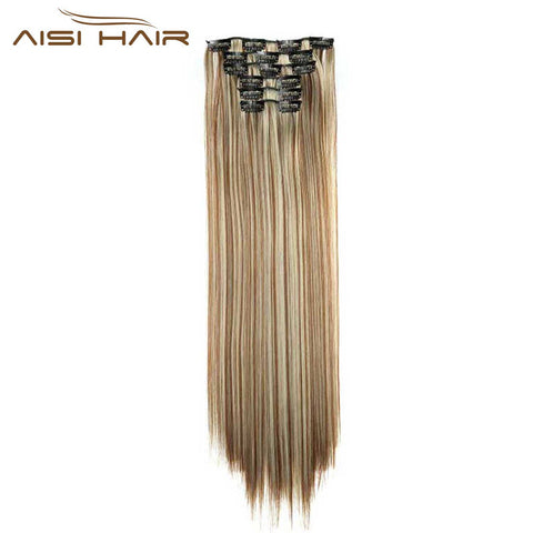 "16 Clip in Hair Extension Long Straight 22"" 140g"