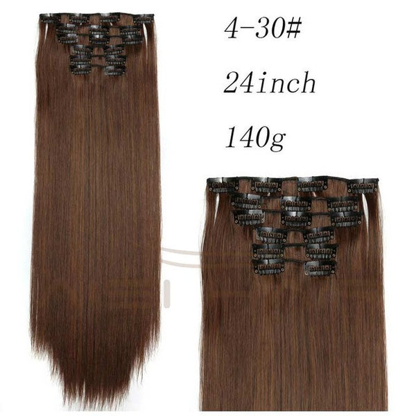 "6 Clip in Hair Extension Long Straight 22"" 140g"