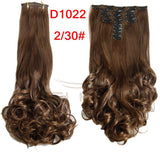 Synthetic 18 Clips in Hair Extension 8pcs/set 22inch Long Wavy Blonde Hairpiece