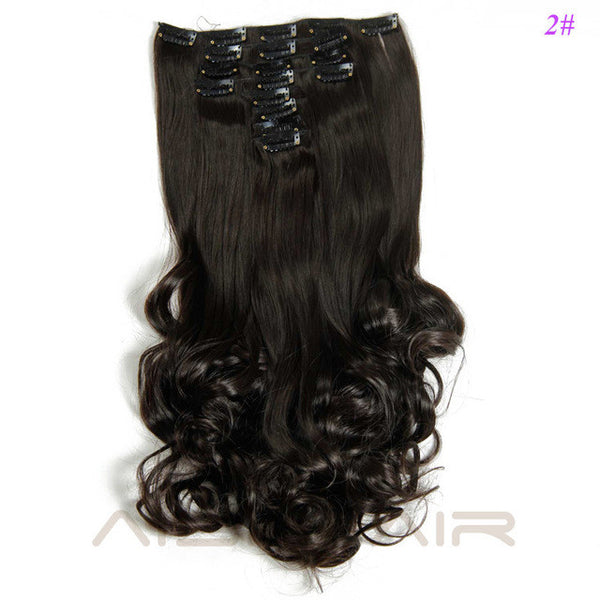 "19"" / 8 Pieces Synthetic  Fiber Clip in Curly  Hair Extensions"