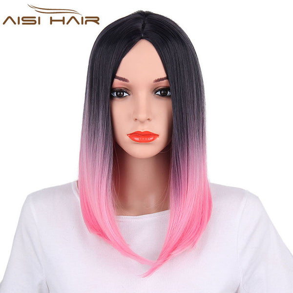 "18"" Ombre Synthetic Fiber Wig"
