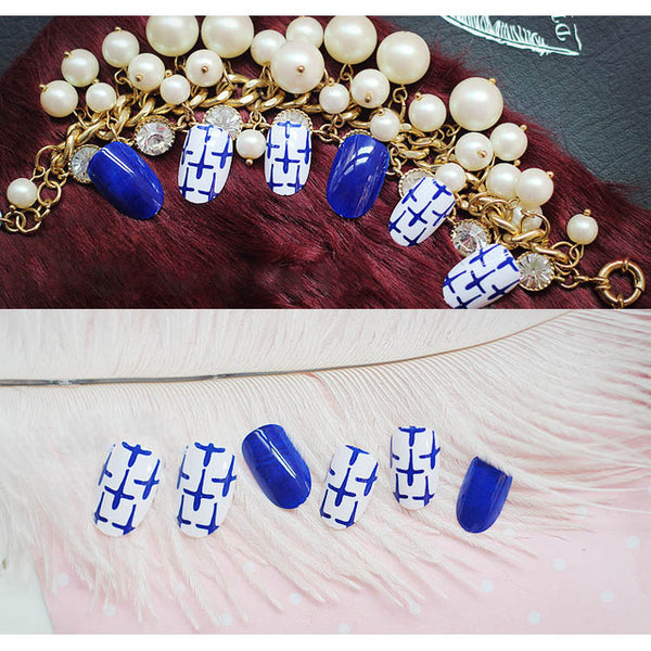Blue White Cross 24 Pcs Nail Art Sticker Fake Nails Artificial Nails Beauty For Home Party Office HB88