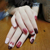 24 Pcs/Set Full Cover Fake Nails Cute Short Artificial False Nails Tips Pre Designed Fake Nail Tips with Glue HB88