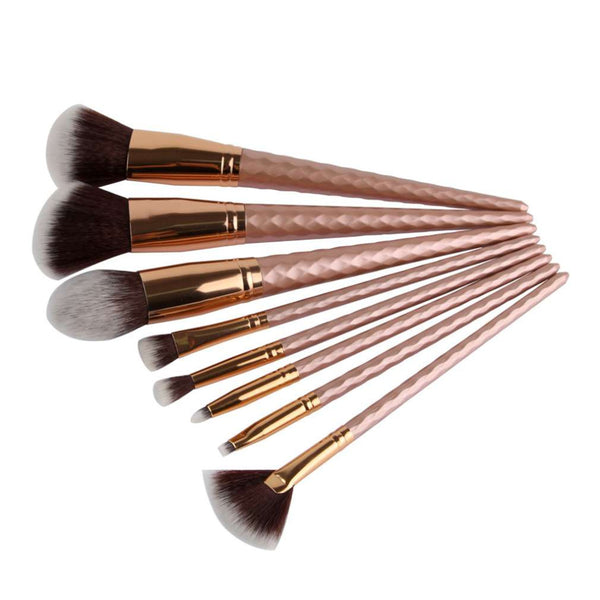 8pcs Threaded Rod Design Makeup Brush Set Cosmetic Tool For Eyebrows Eyelashes Eyes Cheeks Powder Basic Foundation