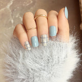 DIY Cute 24 Pcs/set Blue Grey Style Art Short Fake Sticker Nail Tips Acrylic False Stickers With Glue Gel HB88