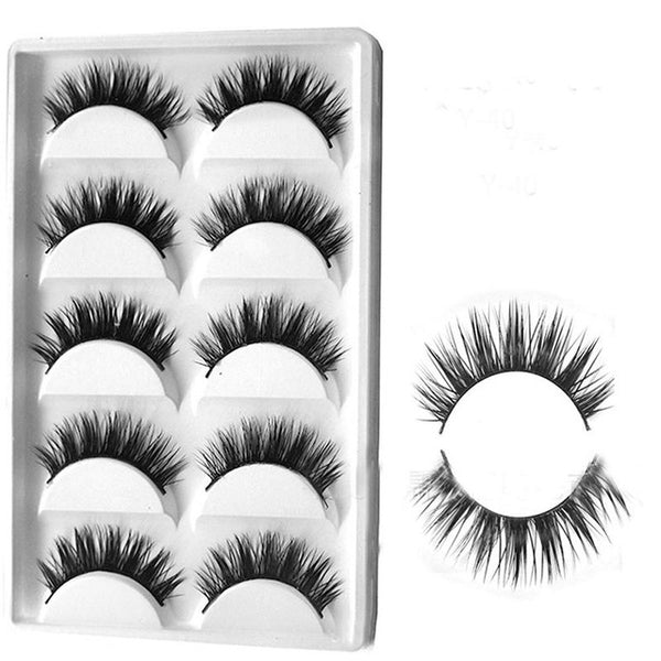 LEARNEVER High Quality 5 Pairs Handmade Super long 3D False Eyelashes Cross Natural Long Eye Lashes Makeup M03711