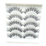 Learnever 5 Pairs/set Handmade Natural Black Thick Long Cross False Fake Eyelashes Eye Lashes Makeup
