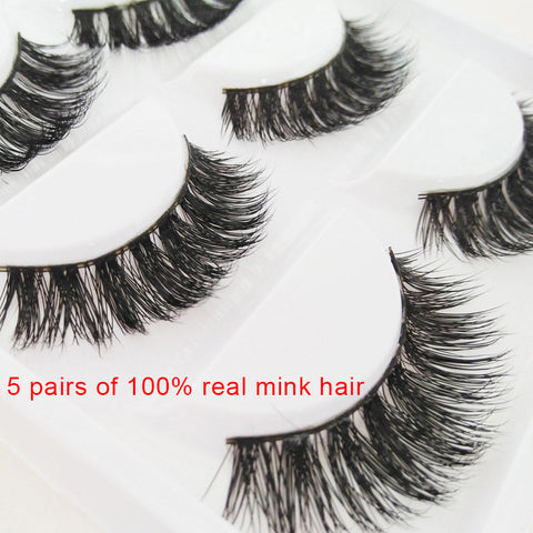 5 Pair 3D Mink Hair False Eyelashes Mink Hair 100% Handmade Natural Eye Lashes Nude Makeup Extension For Women Makeup Tool  HB88