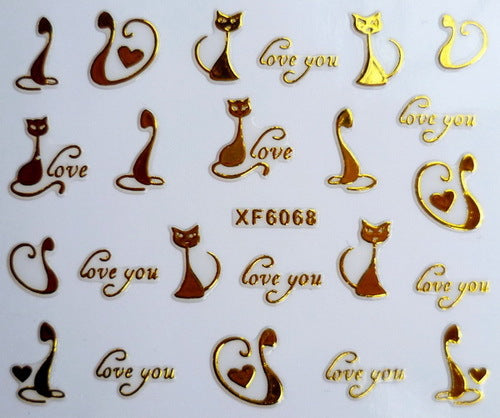 XF6068-2015 New Gold Silver Fashion style Water Transfer Stickers 3D Design DIY Nail Art Decorations Nail Sticker Nail Decal