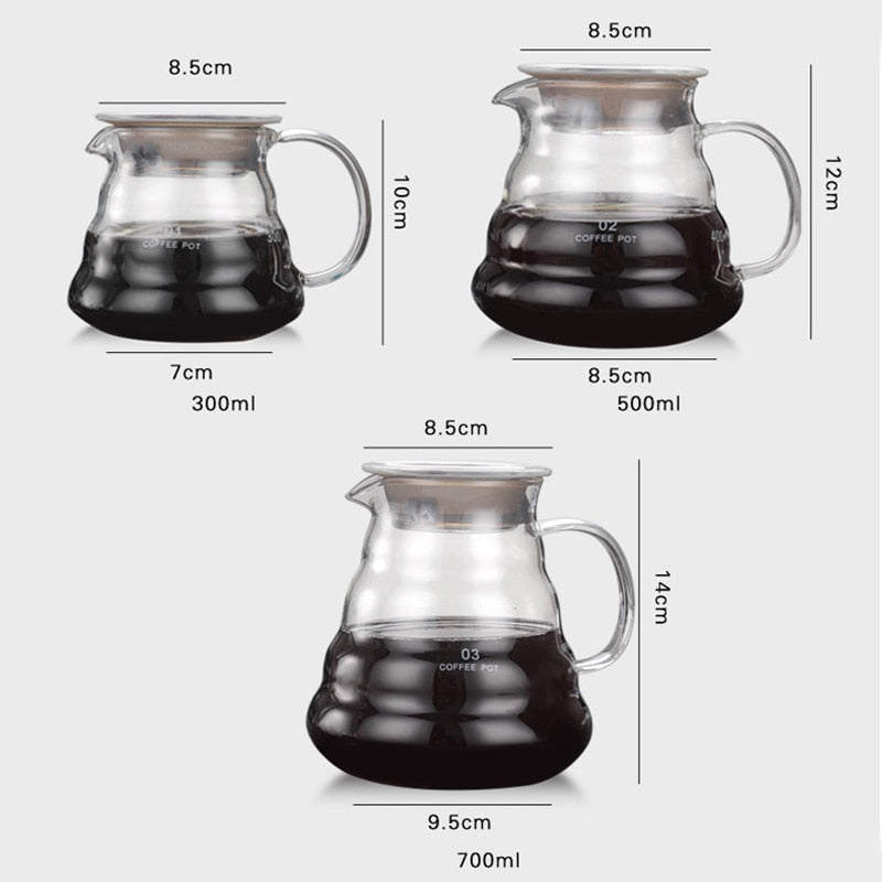 V60 Glass Heat Resistant Coffee Pot