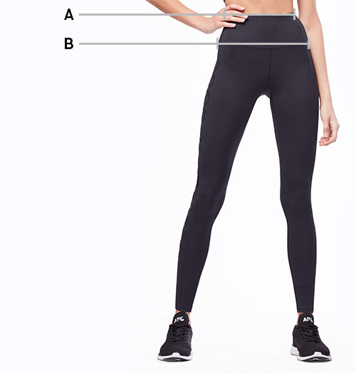Model in the black activewear bottoms