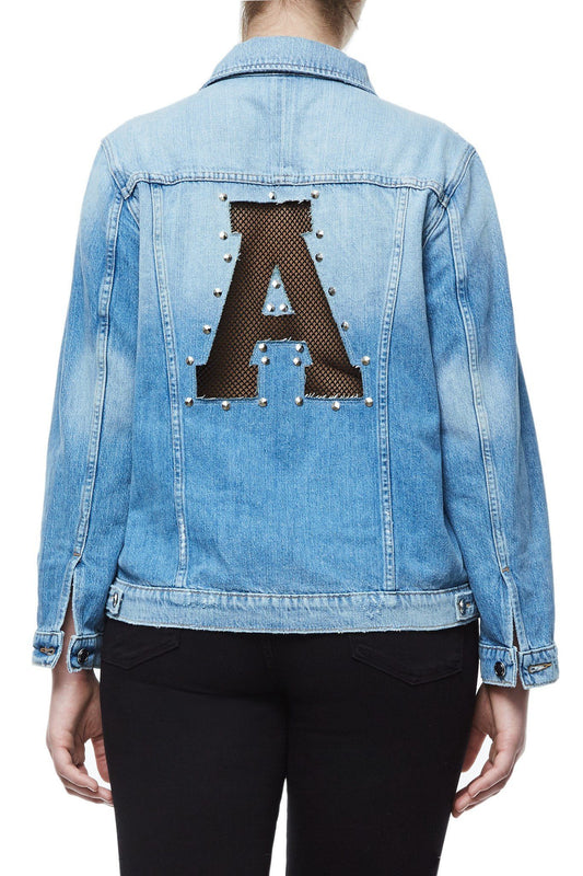 GOOD AMERICAN OVERSIZED FISHNET DENIM JACKET | E-FISHNET JEAN