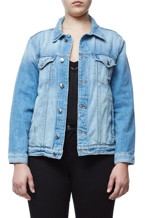 GOOD AMERICAN OVERSIZED FISHNET DENIM JACKET | J-FISHNET JEAN