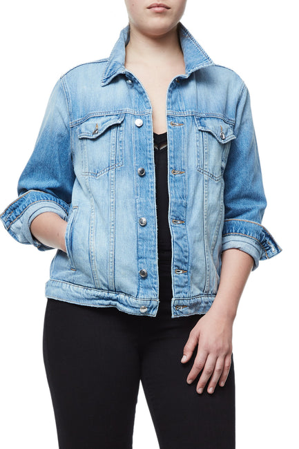 GOOD AMERICAN OVERSIZED FISHNET DENIM JACKET | A-FISHNET JEAN