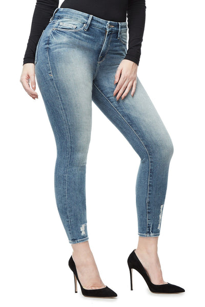 GOOD AMERICAN GOOD LEGS CROP | BLUE010 JEAN
