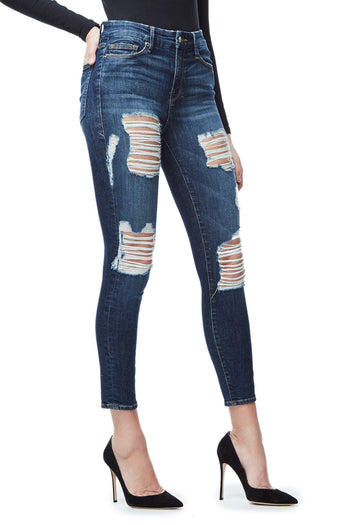 GOOD AMERICAN GOOD LEGS CROP | BLUE021 JEAN