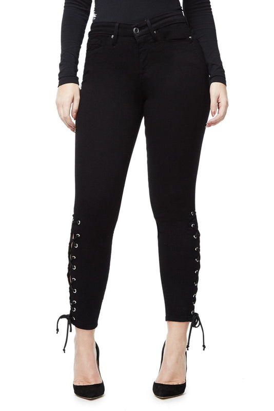 GOOD AMERICAN GOOD LEGS CROP LACE UP | BLACK001 JEAN