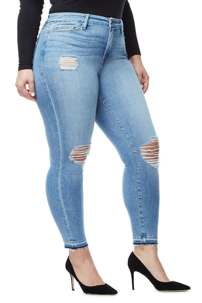 GOOD AMERICAN GOOD LEGS CROP RELEASED HEM | BLUE023 JEAN