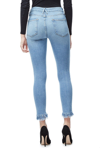 GOOD AMERICAN GOOD LEGS FRAY | BLUE018 JEAN