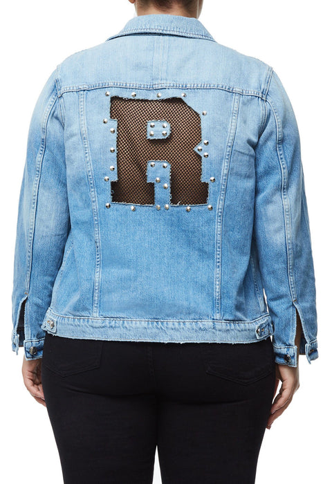 GOOD AMERICAN OVERSIZED FISHNET DENIM JACKET | T-FISHNET JEAN