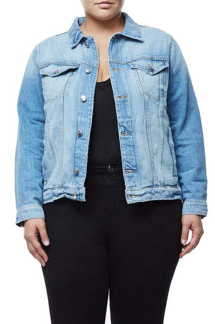 GOOD AMERICAN OVERSIZED FISHNET DENIM JACKET | X-FISHNET JEAN