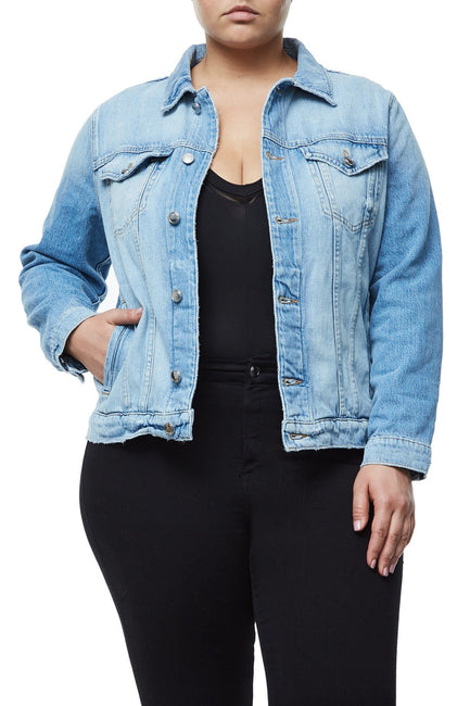 GOOD AMERICAN OVERSIZED FISHNET DENIM JACKET | L-FISHNET JEAN