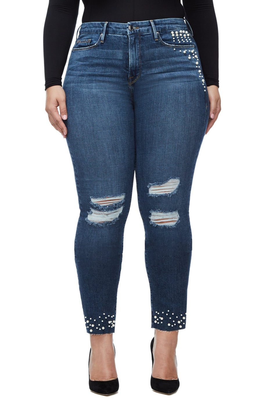 Good American Ripped Good Straight Pearls Blue095 Jeans