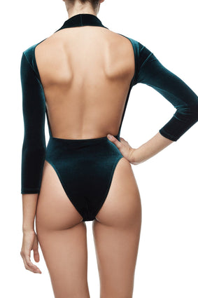 THE VELVET BACKLESS BODY | EMERALD001