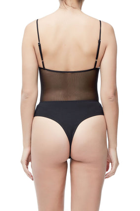 THE MIXED MESH SWEETHEART CAMI | BLACK001