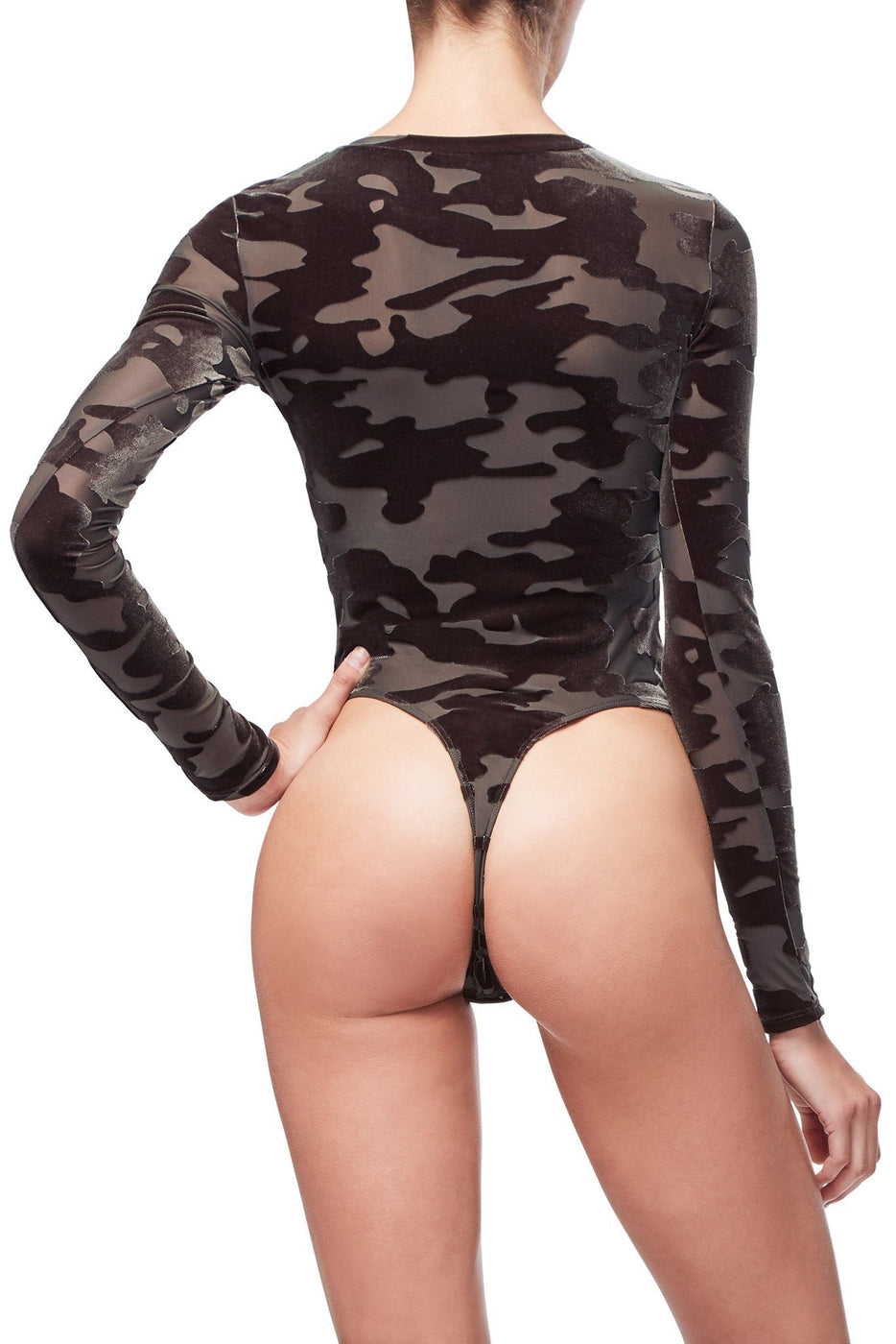 Good American The Camo Crew Bodysuit | Olive001