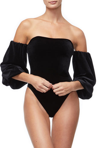 THE VELVET OFF SHOULDER BODY | BLACK001