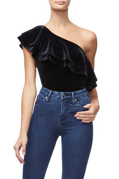 THE RUFFLE ONE SHOULDER BODY | BLACK001