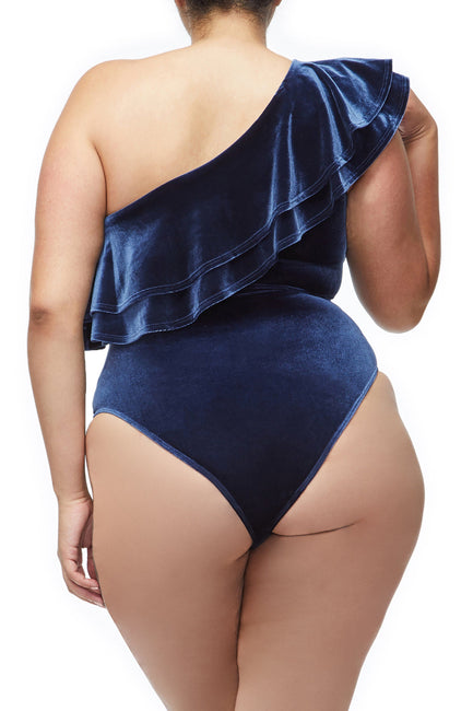 Good American The Ruffle One Shoulder Bodysuit | Navy001